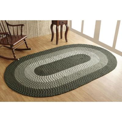 Alpine Braid Collection Durable Stain Resistant Reversible Hunter 5 ft. x 8 ft. Oval Stripe Polypropylene Area Rug