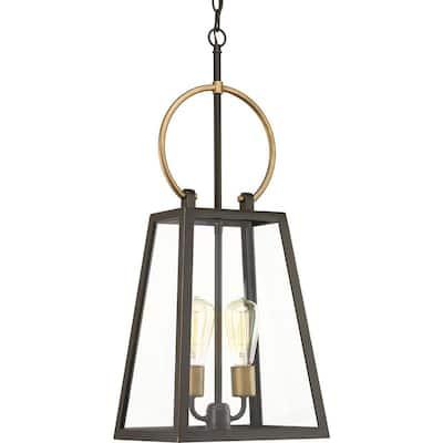 Barnett Collection 2-Light Antique Bronze  Farmhouse Outdoor Hanging Lantern Light