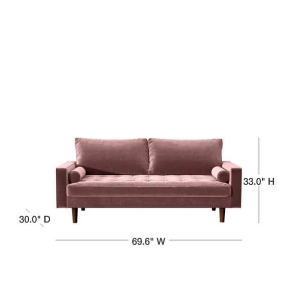 Us Pride Furniture Civa 69 6 In Tea Rose Velvet 3 Seater Lawson Sofa With Removable Cushions S5481 S The Home Depot