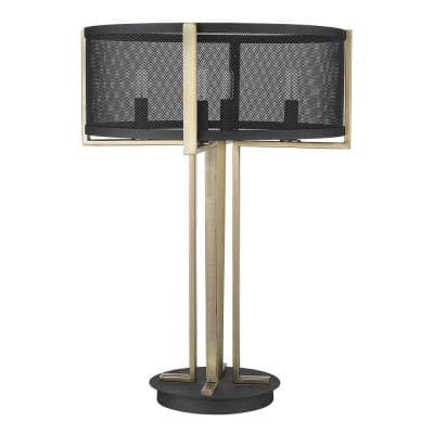 Trend Home 25 in. Matte Black and Brass Table Lamp