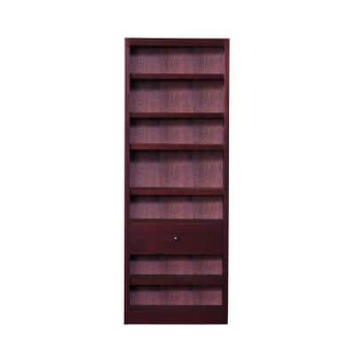 84 in. Cherry Wood 7-shelf Standard Bookcase with Adjustable Shelves