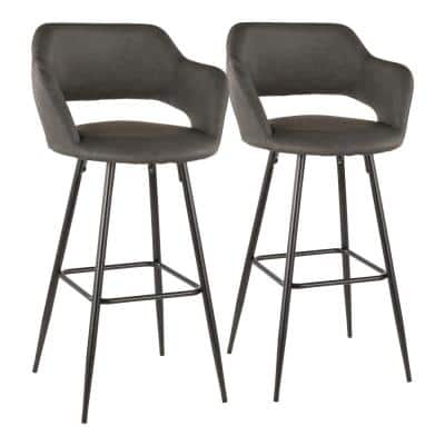 Margarite 29 in. Grey Faux Leather Upholstery Bar Stool (Set of 2)