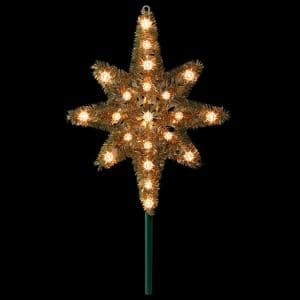 21 in. Gold Tinsel Star of Bethlehem Christmas Tree Topper in Clear Lights
