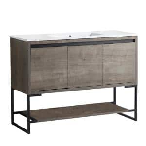 47.62 in. W x 35.04 in. H Free-Standing Bath Vanity in Plaid Gray Oak with Vanity Top in White with White Basin