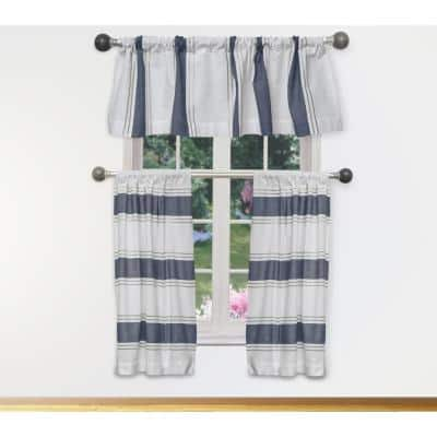 White-Navy Color Block Rod Pocket Room Darkening Curtain - 15 in. W x 58 in. L (Set of 3)