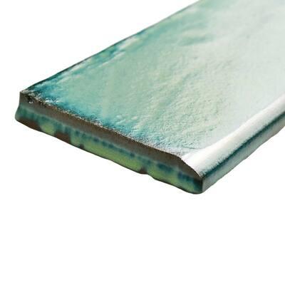 Antic Special Lava Verde 3 in. x 6 in. Ceramic Bullnose Wall Trim Subway Tile