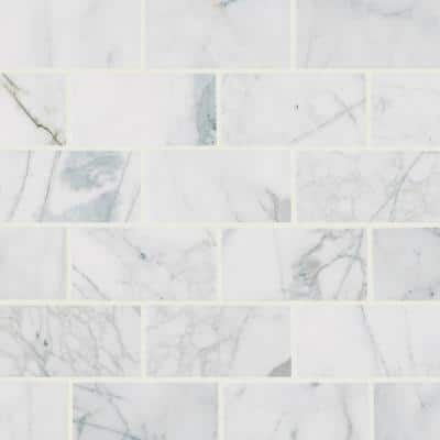 Calacatta Cressa 3 in. x 6 in. Honed Marble Floor and Wall Tile (1 sq. ft. /Case)