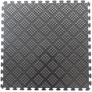 Multi-Purpose 18.3 in. x 18.3 in. Metallic Graphite PVC Garage Flooring Tile with Raised Diamond Pattern (6-Pieces)