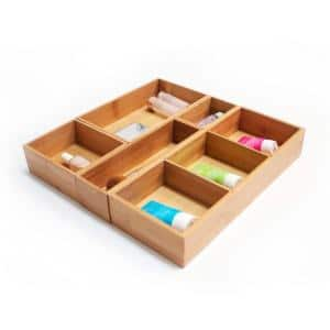5-Piece Bamboo Storage Box Set with Dividers