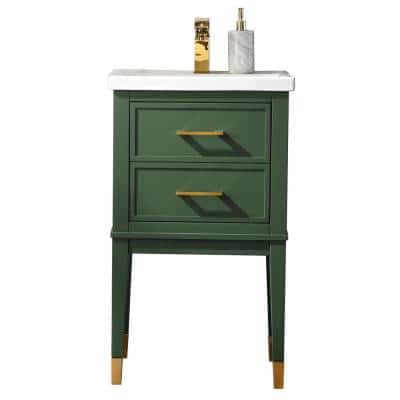 Clara 20 in. W x 15.7 in. D Bath Vanity in Green with Porcelain Vanity Top in White with White Basin