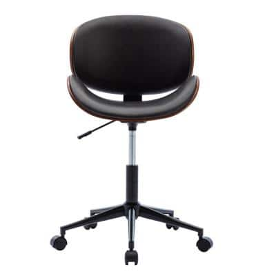 Modern 36.23 in. Height Dark Leather Upholstered Bar or Office Stool with Adjustable Height and Wheels