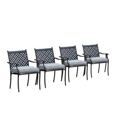 Metal Outdoor Dining Chair with Gray Cushion (4-Pack)