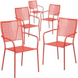 Stackable Metal Outdoor Dining Chair in Coral
