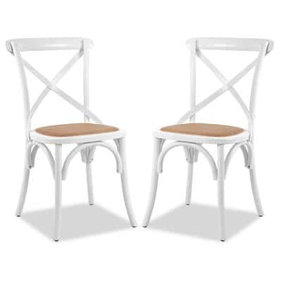 Cafton White Crossback Chair (Set of 2)