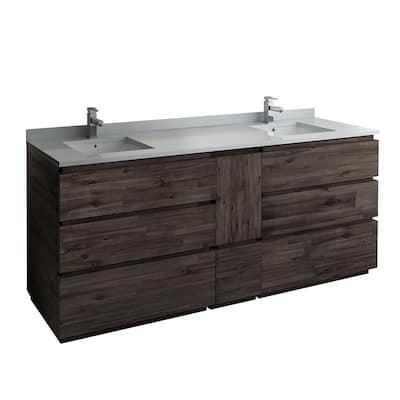 Formosa 82 in. W Modern Double Vanity Cabinet Only in Warm Gray