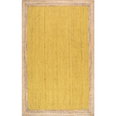 Elanora Farmhouse Bordered Jute Yellow 2 ft. x 3 ft. Area Rug