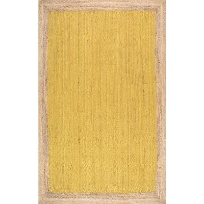 Elanora Farmhouse Bordered Jute Yellow 5 ft. x 8 ft. Area Rug