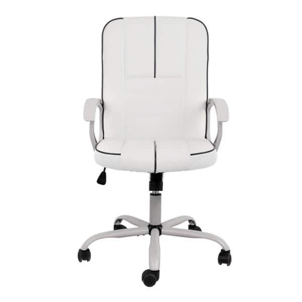 Yangming White Pu Leather Desk Chair, White Leather Computer Chairs