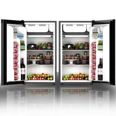 3.2 cu. ft. Compact Refrigerator Mini Dorm Small Fridge in Black with Freezer Reversible Door