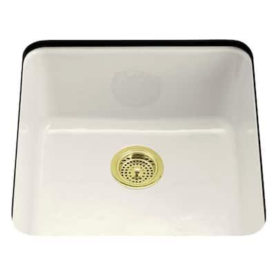 Iron/Tones Drop-In/Undermount Cast-Iron 21 in. Single Bowl Kitchen Sink in Biscuit