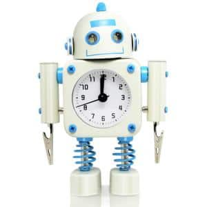 White Non-Ticking Robot Alarm Clock Stainless Metal - Wake-up Clock with Flashing Eye Lights and Hand Clip