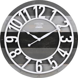 Gray Shabby Farmhouse Planks Clock