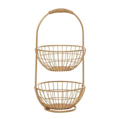 Gold Traditional Metal Storage Basket