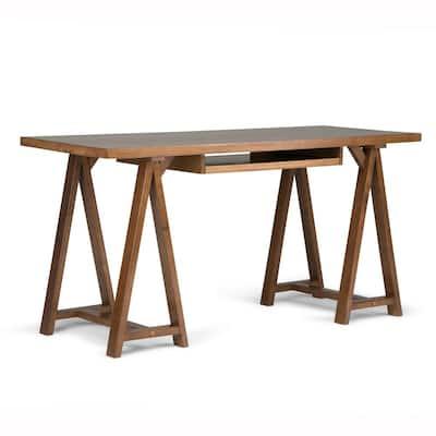 Sawhorse Solid Wood Modern Industrial 60 in. Wide Modern Industrial Writing Office Desk in Medium Saddle Brown