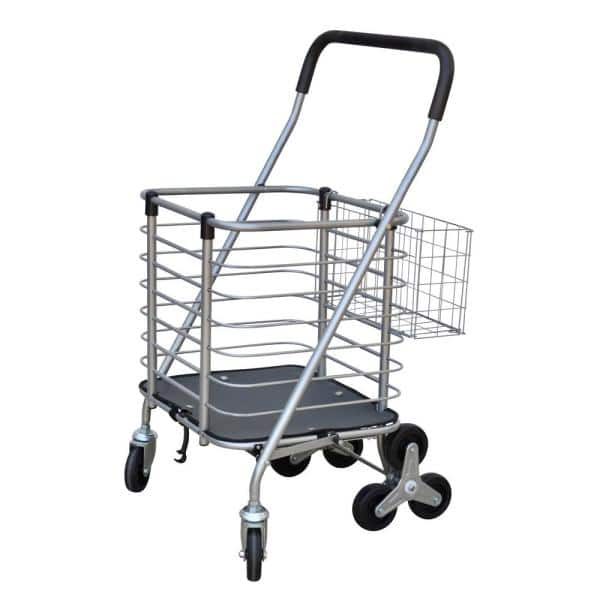 Milwaukee 3 Wheel Steel Easy Climb Shopping Cart Design With Accessory Basket In Silver Sc36 The Home Depot