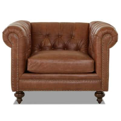 Blakely Arena Vintage Brown Leather Chesterfield Chair