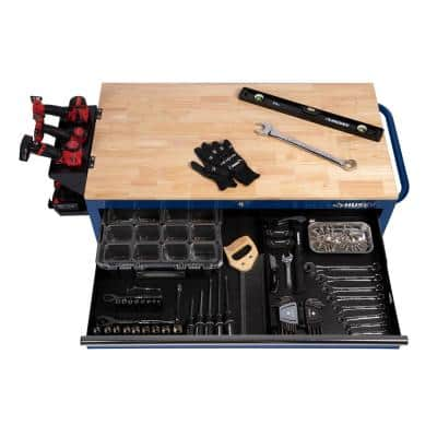 46 in. W x 24.5 in. D 9-Drawer Gloss Blue Deep Tool Chest Mobile Workbench with Hardwood Top