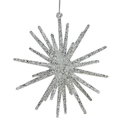 8.25 in. White Glitter Starburst Christmas Ornament