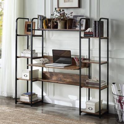 63 in. Brown Retangular Home Office Computer Workstation Desk with Storage Hutch and Bookshelf
