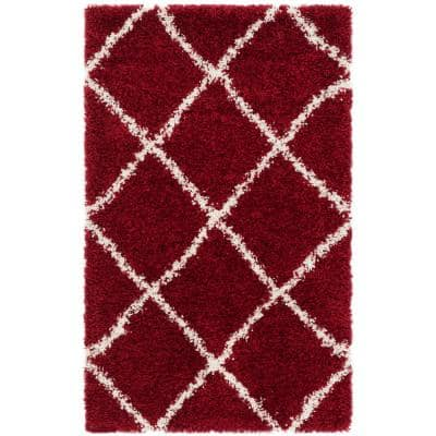 Hudson Shag Red/Ivory 2 ft. 3 in. x 3 ft. 9 in. Area Rug