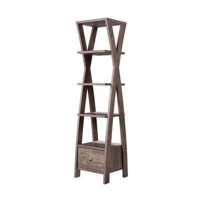 Stokes 71 in. Walnut Oak Wood 4-shelf Standard Bookcase with Open Back