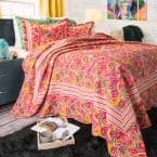 Paisley Pink Geometric King Quilt