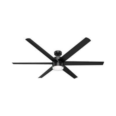 Solaria 72 in. Integrated LED Outdoor Matte Black Ceiling Fan with Light Kit and Remote Control