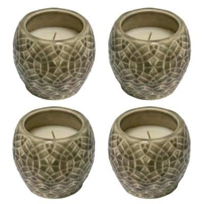 3.5 in. Greige Rivage Scented Soy Blend Ceramic Candles (Set of 4)