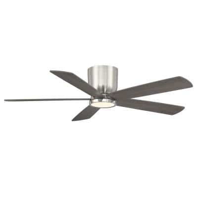 Britton 52 in. Integrated LED Indoor Brushed Nickel Ceiling Fan with Light Kit and Remote Control