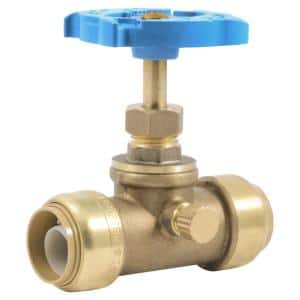 3/4 in. Push-to-Connect Brass Stop Valve with Drain