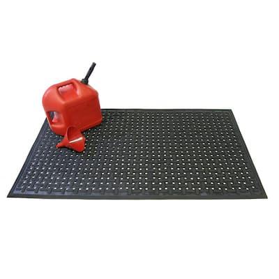 Kitchen Mat Red 0.375 in. T x 36 in. Width x 60 in. Length Rubber Non-Slip Kitchen Mat