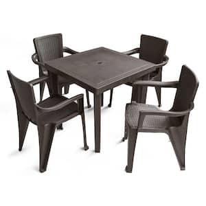 5-Piece Plastic Resin Outdoor Dinning Set in Espresso