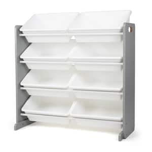 Grey 31'' in. H Engineered Wood Kids Toy Storage Organizer with 8 Large Plastic Storage Bins