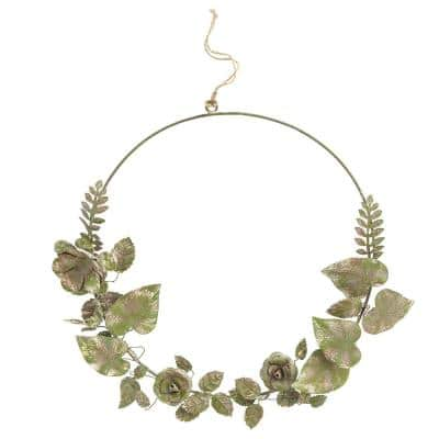 13.5 in. Wreath with Metal Tole Flowers