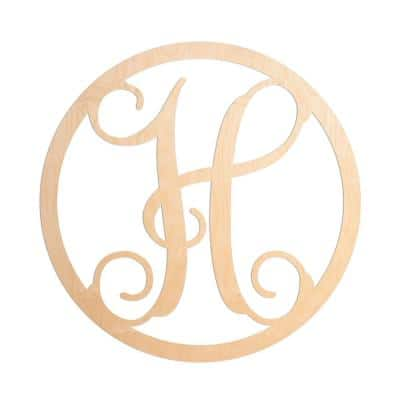 19 in. Unfinished Single Circle Monogram (H)