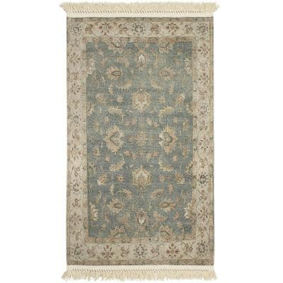 Anita Fringed Green 3 ft. x 5 ft. Distressed Vintage Accent Rug