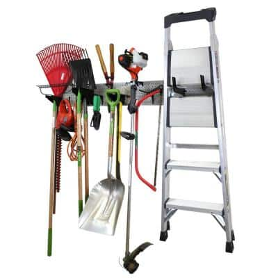 8 in. H x 64 in. W Garage Tool Storage Lawn and Garden Tool Organization Rack w/ Grey Metal Pegboard and Black Hook Set
