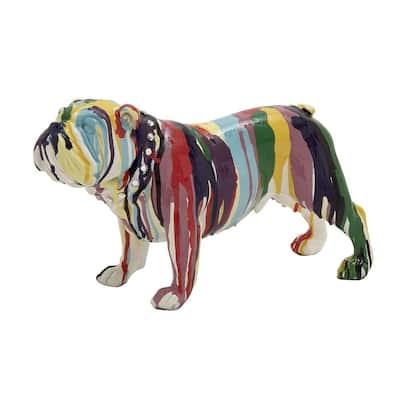 Multi Colored Polystone Eclectic Dog Sculpture