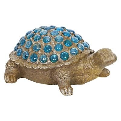 Blue Beaded Turtle Garden Statue