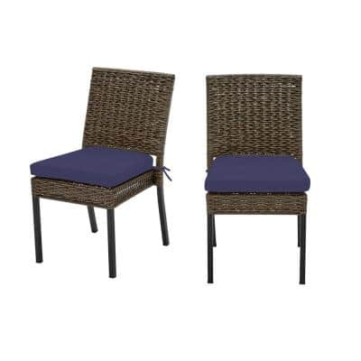 Laguna Point Brown Wicker Outdoor Patio Dining Chair with CushionGuard Sky Blue Cushions (2-Pack)